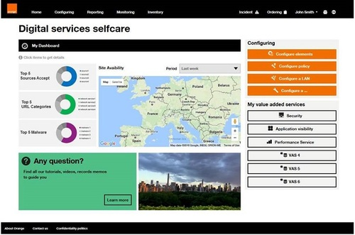 A screenshot of Orange Business Services' Easy Go Network.